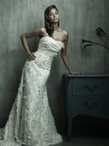 a-linje stroppeløs kapell tog taffeta brudekjole