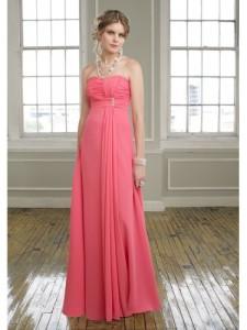 a-linje stroppeløs gulv-lengde chiffon brudepike kjole